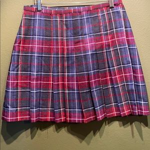 Pleated wool blend plaid skirt
